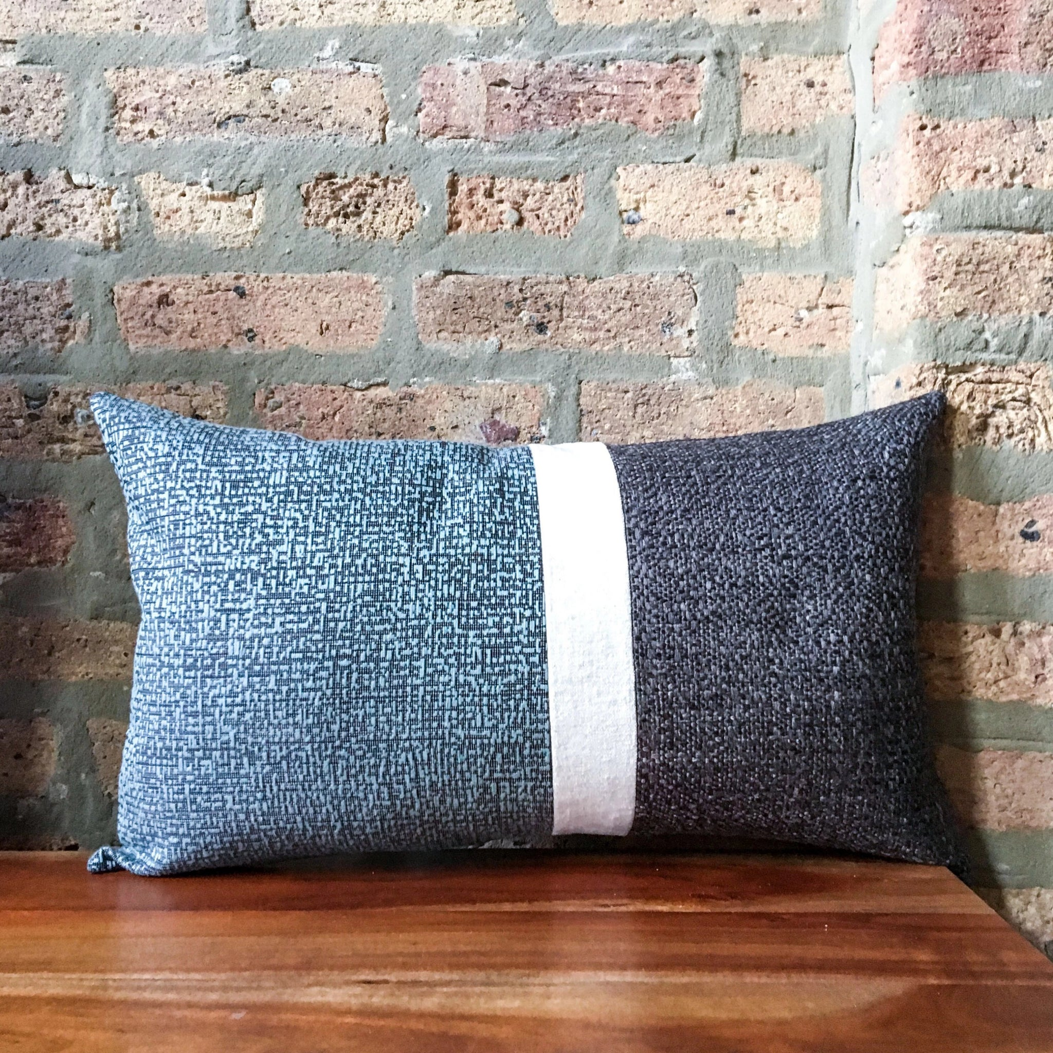 "12""x20"" Retro Color Block Lumbar Pillow Covers 