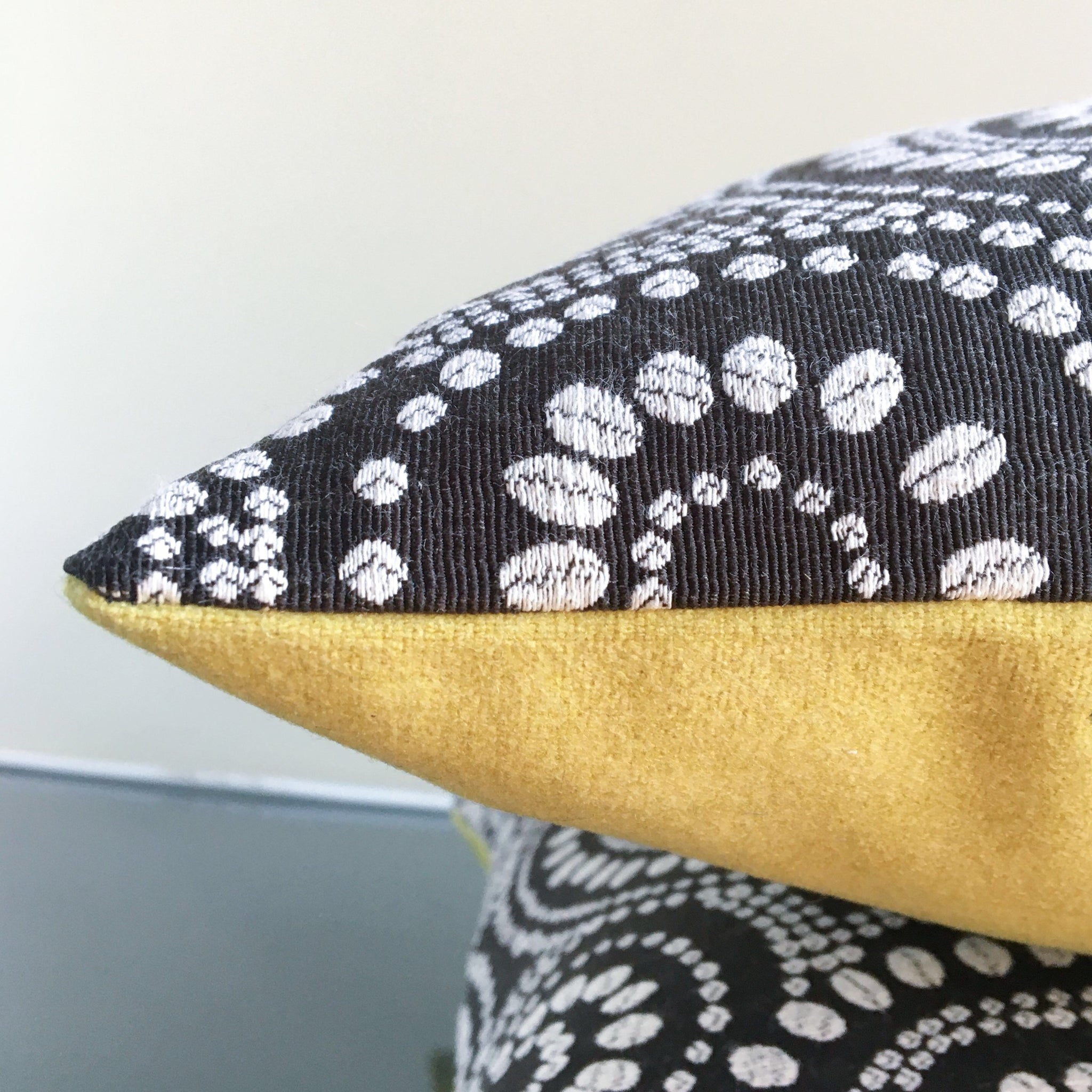 18x18 Black, White, Bright Yellow Pillow Covers | Polka Dot Pillows | Contemporary Colorful Pillows