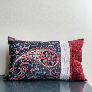 12x20 Color Block Lumbar Pillow | Navy Blue, Dark Red, Silver | Textured Pillow | Handmade
