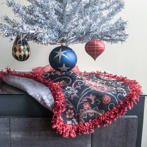 "24"" Blue, Red, Silver Paisley Tabletop Christmas Tree Skirt with Fringe 