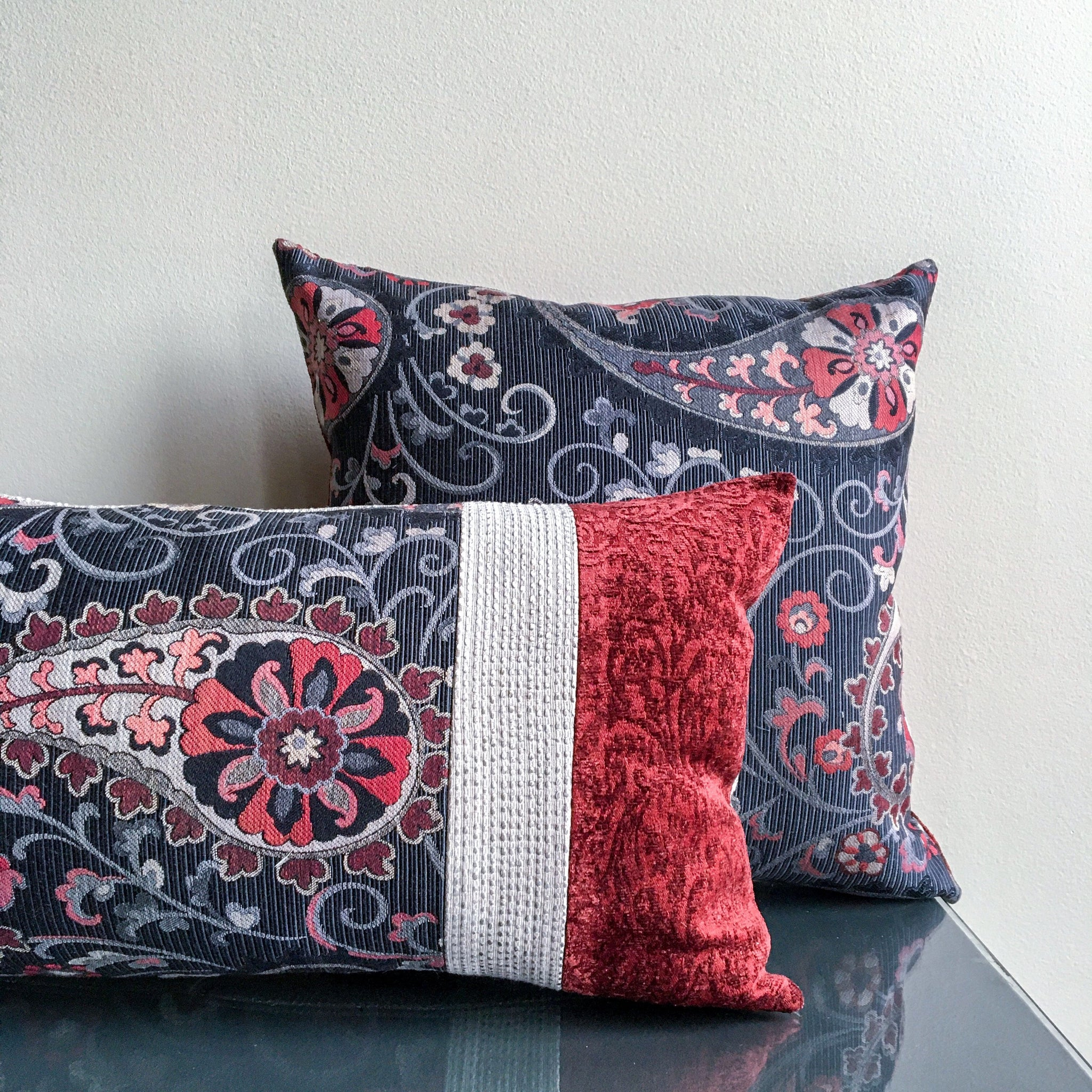18x18 Navy Blue, Red, Silver Paisley Throw Pillow Covers | Reversible | Bold Patterned Pillows | Handmade