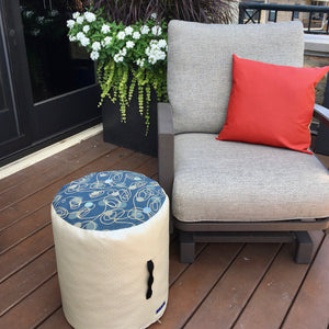 Blue and Neutral Indoor Outdoor Fabric and Vinyl Pouf Ottoman, Handmade, Water Resistant, Waterproof Vinyl Bottom