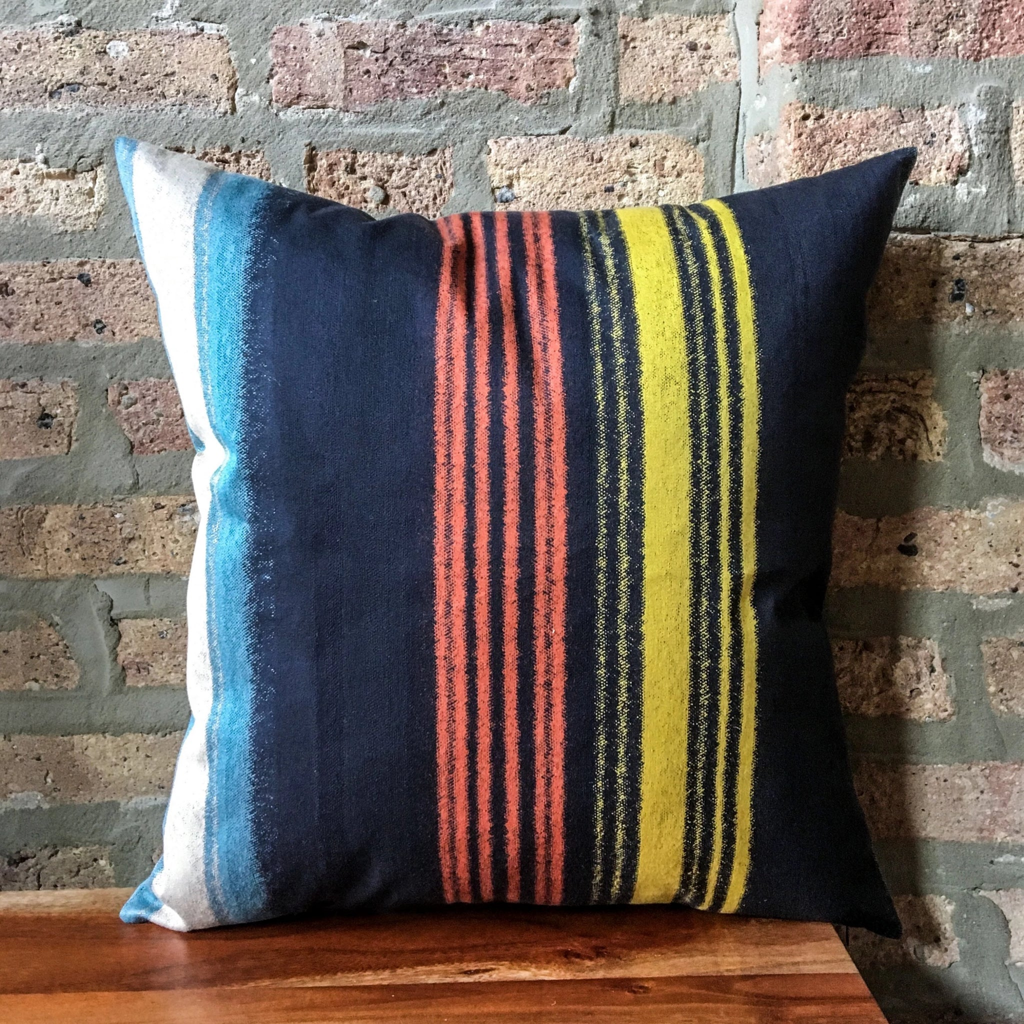 18x18 Navy Blue, Red, Yellow Striped Pillow Covers | Casual Decor | Handmade