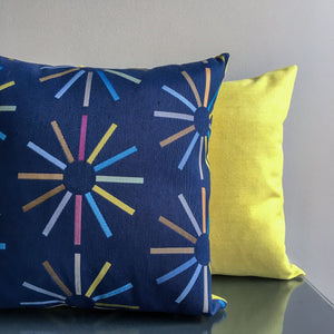 Navy Blue and Bright Yellow 18x18 Reversible Pillow Covers | Casual Contemporary Pillows | Handmade