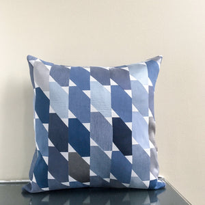 18x18 Blue, Gray and White Pillow Covers | Contemporary Geometric Decor | Handmade in USA