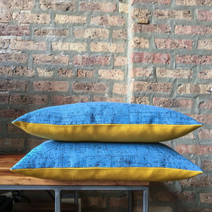 12x20 Blue, Gray and Bright Yellow Lumbar Pillows | Handmade in USA | Casual Contemporary Decor