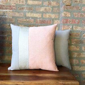 18x18 Linen Color Block Blush Pink and Neutral Pillow Covers | Striped Linen Pillows | Beige, Off-White and Blush | Handmade