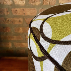 Mid Century Modern Brown, Gold and White Pouf Ottoman