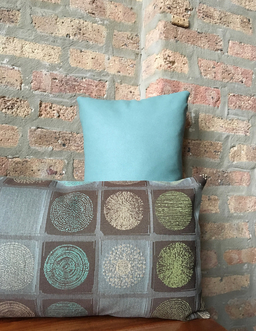 "12""x20"" Aqua and Brown Mid Century Outdoor Pillow Covers 