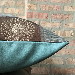 Aqua and Brown Mid Century Outdoor Pillows | Water Resistant | Faux Leather | Handmade in USA