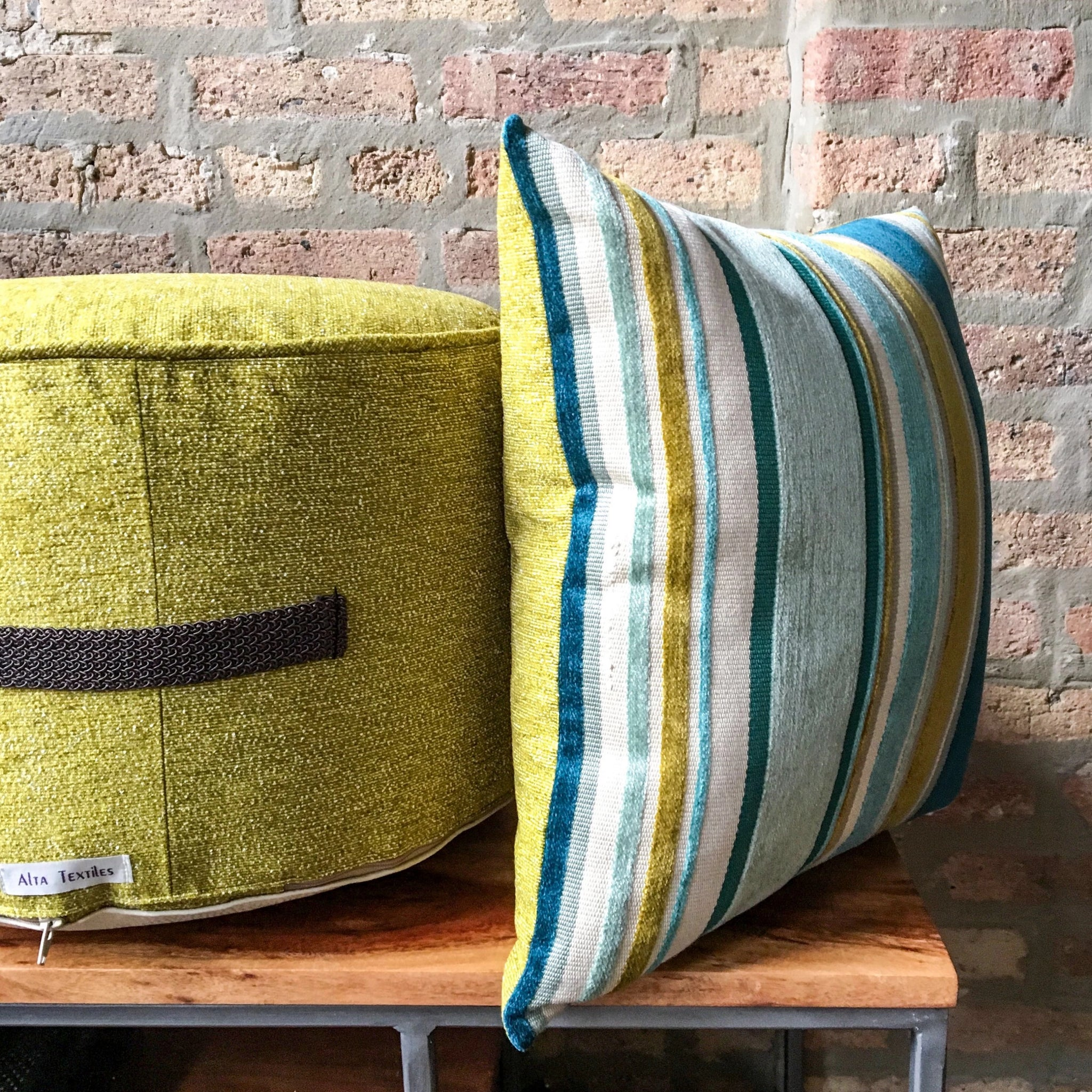 Retro Chartreuse Small Pouf Ottoman | Mid Century Modern Furniture | Gold Pouf | Handmade in USA