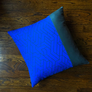 18x18 Color Block Cobalt Blue and Charcoal Gray Pillow Covers