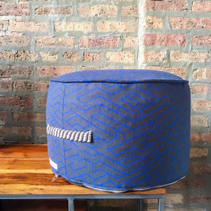 "Charcoal Gray and Cobalt Blue Small Pouf Ottoman | 10"" High x 17"" Wide"