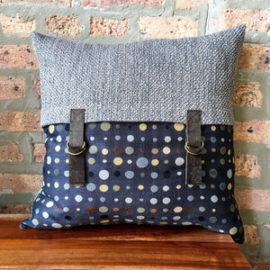 18x18 Color Block Neutral Pillow Covers with Leather Trim | Taupe, Black, Metallic Gold | Neutral Polka Dot Pillows | Rustic Modern Farmhouse | Handmade