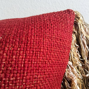 12x20 Rust-Red, Cream, Beige and Gold Boho Lumbar Pillow Cover | Bohemian Decor | Shabby Chic Decor