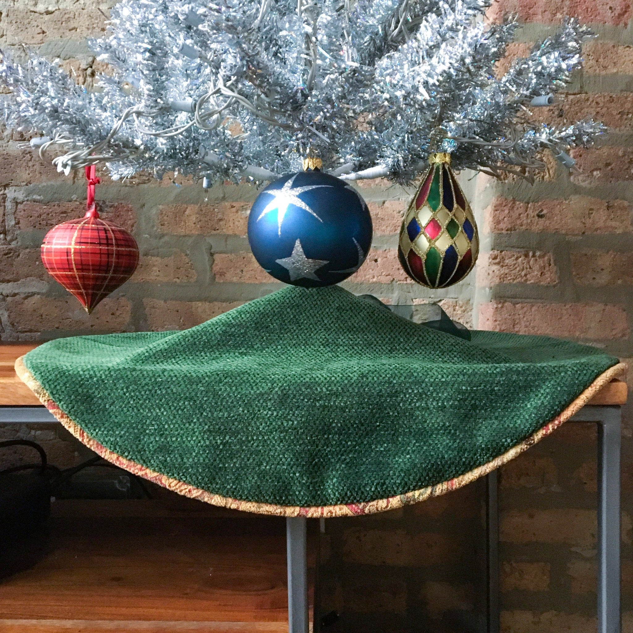 "24"" Gold Embroidered and Green Tabletop Boho Christmas Tree Skirt 