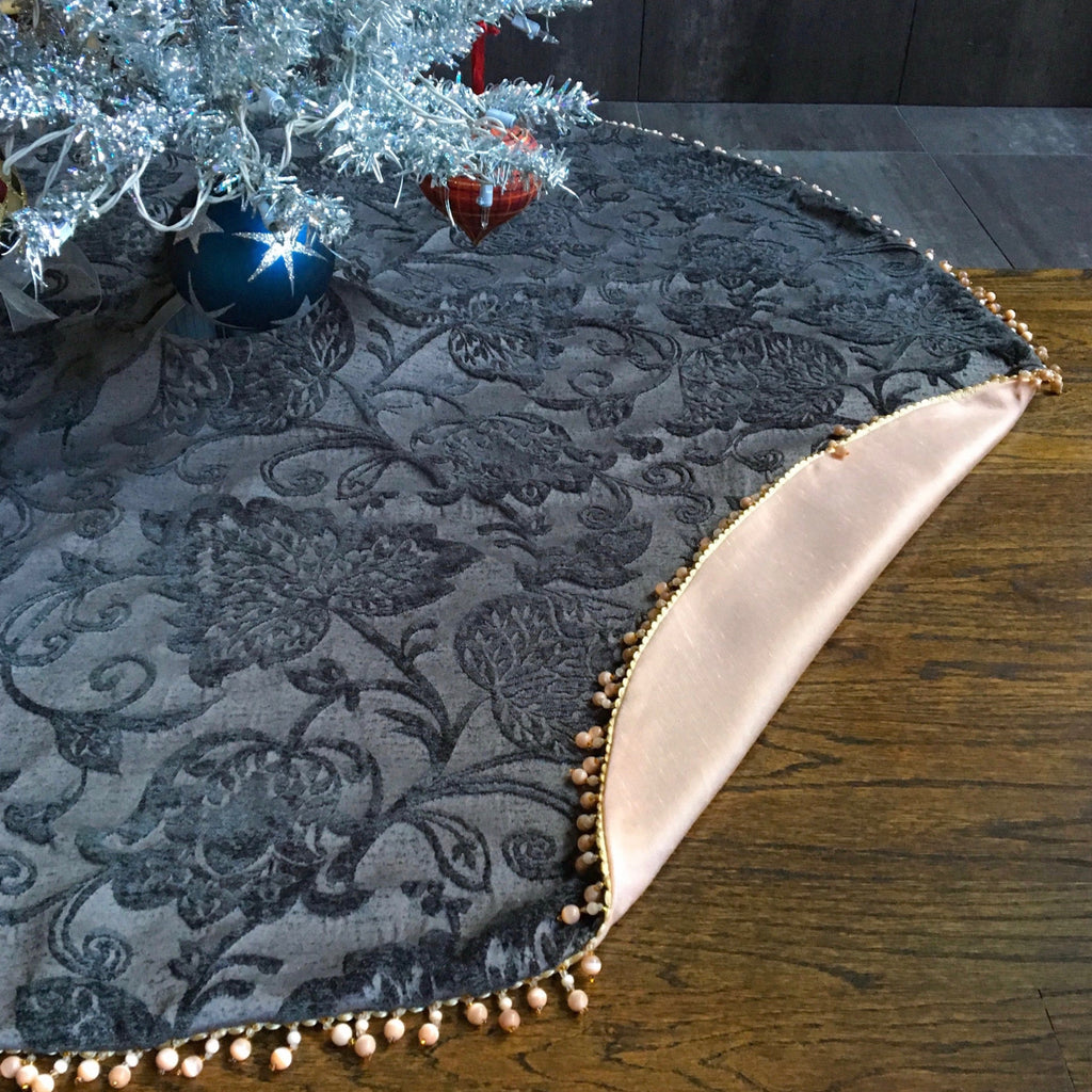 "48"" Gray and Blush Beaded Christmas Tree Skirt 