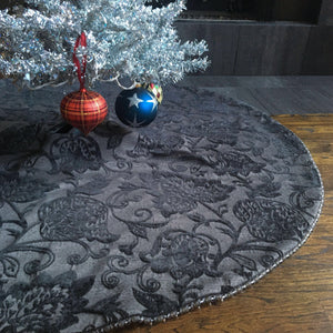 "48"" Gray and Silver Beaded Reversible Christmas Tree Skirt 
