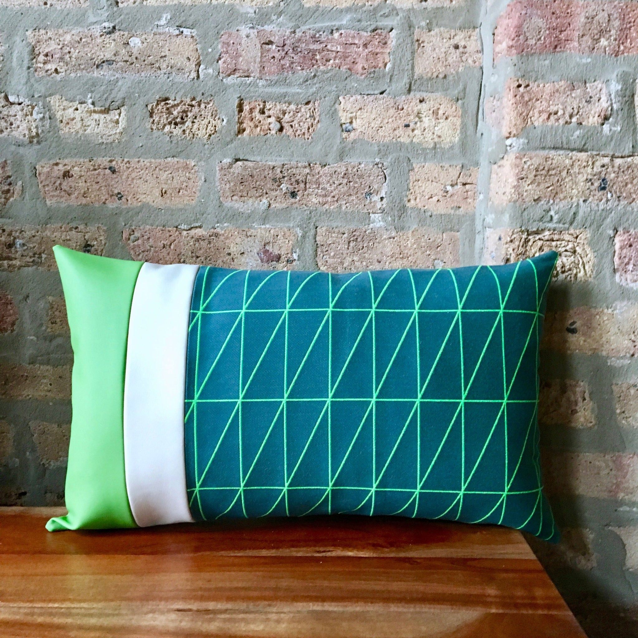 12x20 Bright Green And Blue Outdoor Striped Lumbar Pillow Covers Alta Textiles