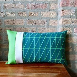 Bright Green and Blue Outdoor Lumbar Pillow Covers | 12x20 | Water Resistant | Handmade