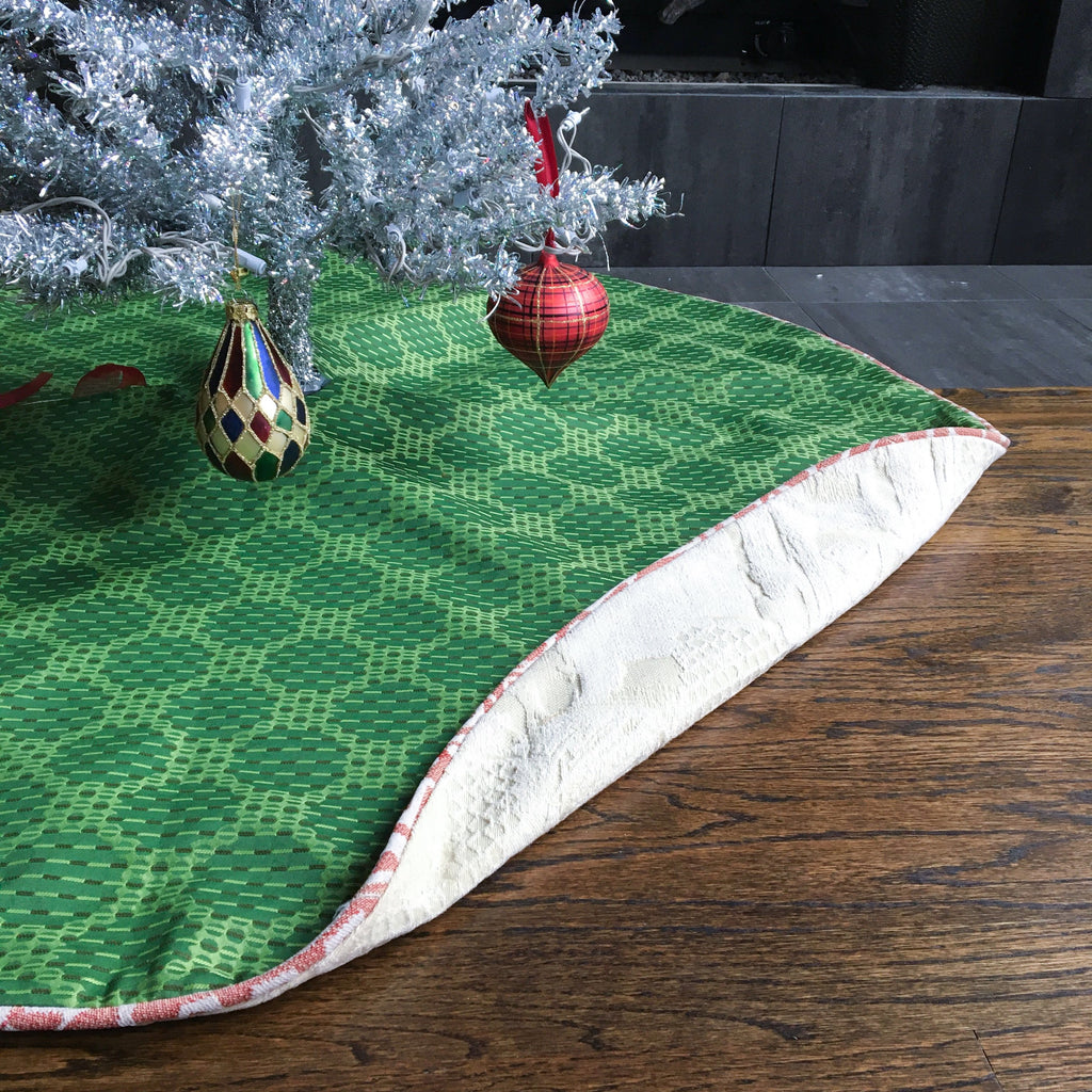 "48"" Green, White and Red Contemporary Polka Dot Christmas Tree Skirt 