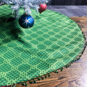 "48"" Green and Red Contemporary Dot Christmas Tree Skirt 