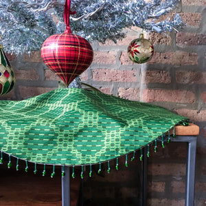 "24"" Bright Green Polka Dot Beaded Tabletop Christmas Tree Skirt 