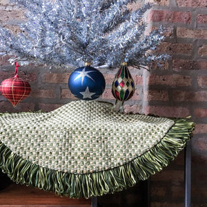 "24"" Green, Gold and Red Tabletop Christmas Tree Skirt with Fringe 