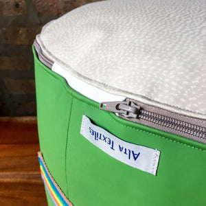 Small Spring Green and White Vinyl Outdoor Pouf Ottoman | Weatherproof and Waterproof