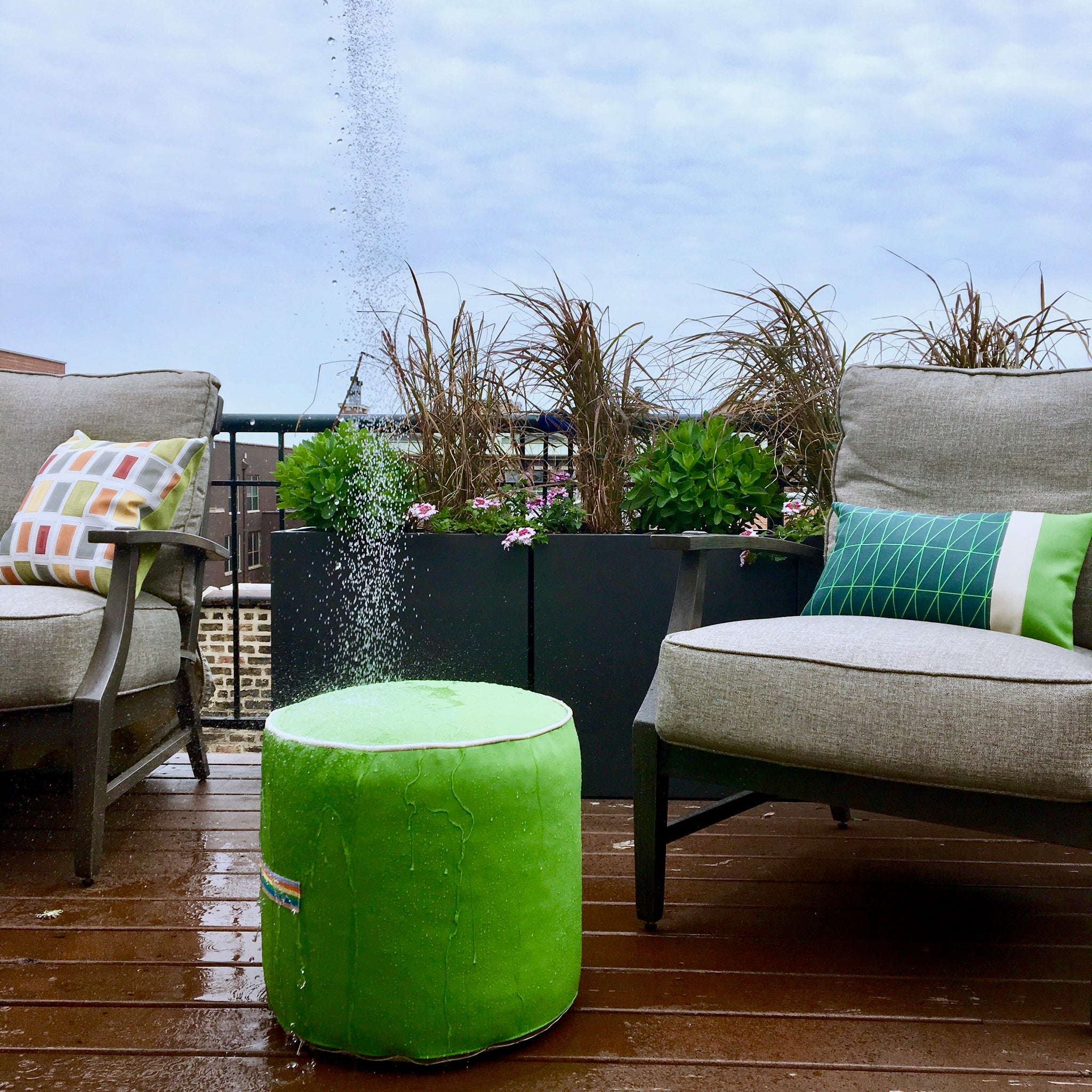 Waterproof outdoor pouf ottoman | Bright Green vinyl | Handmade