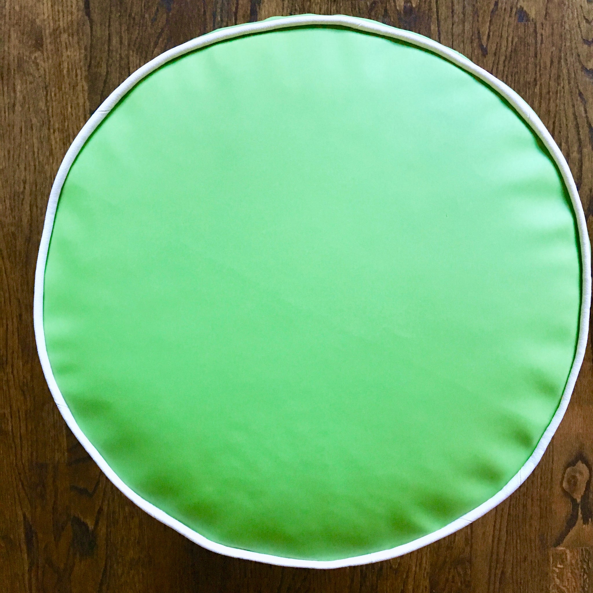 Bright Spring Green and White Faux Leather Outdoor Pouf Ottoman | Waterproof | Handmade in USA | Kelly Green Outdoor Decor