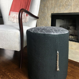 Black and Gray Mid Century Modern Pouf Ottoman | Handmade in USA