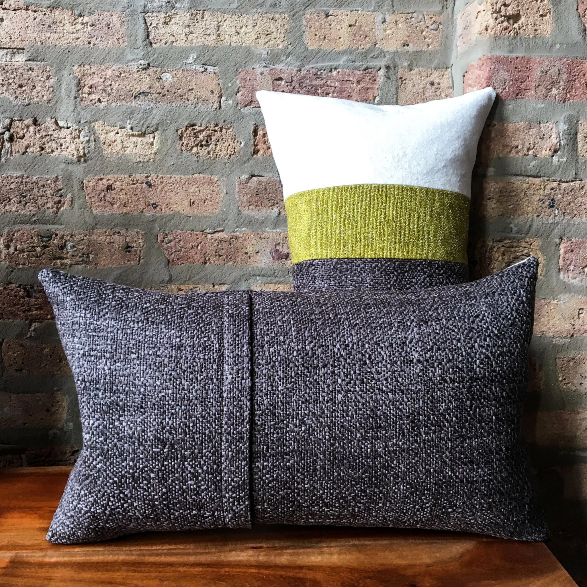 Retro Color Blocked Lumbar Pillow Covers | Gray, Chartreuse, Off-White | Mid Century Modern Decor | Handmade