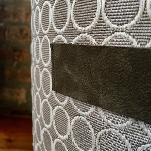 Neutral Fabric Pouf Ottoman | Handmade | Contemporary