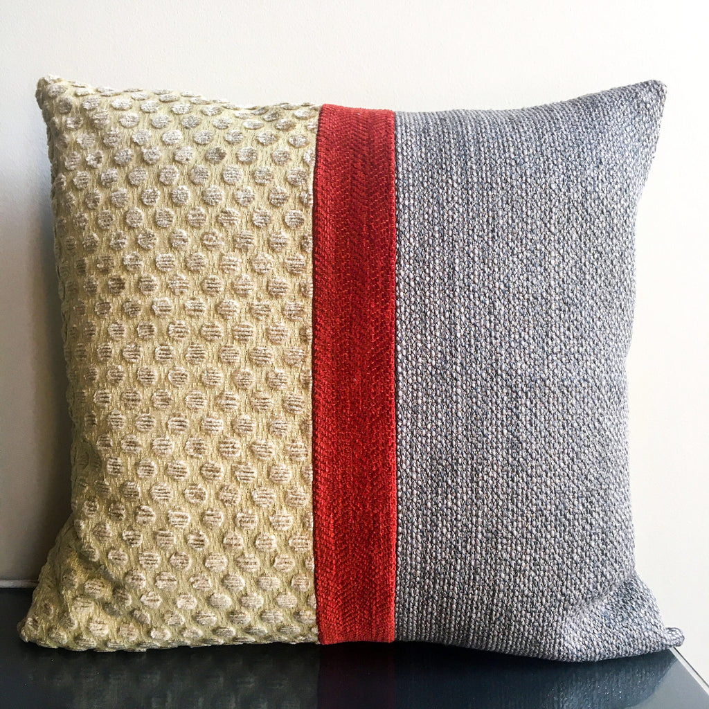 20x20 Taupe, Gold, Rust Red Decorative Throw Pillow Covers | Neutral Modern Throw Pillows | Handmade in USA