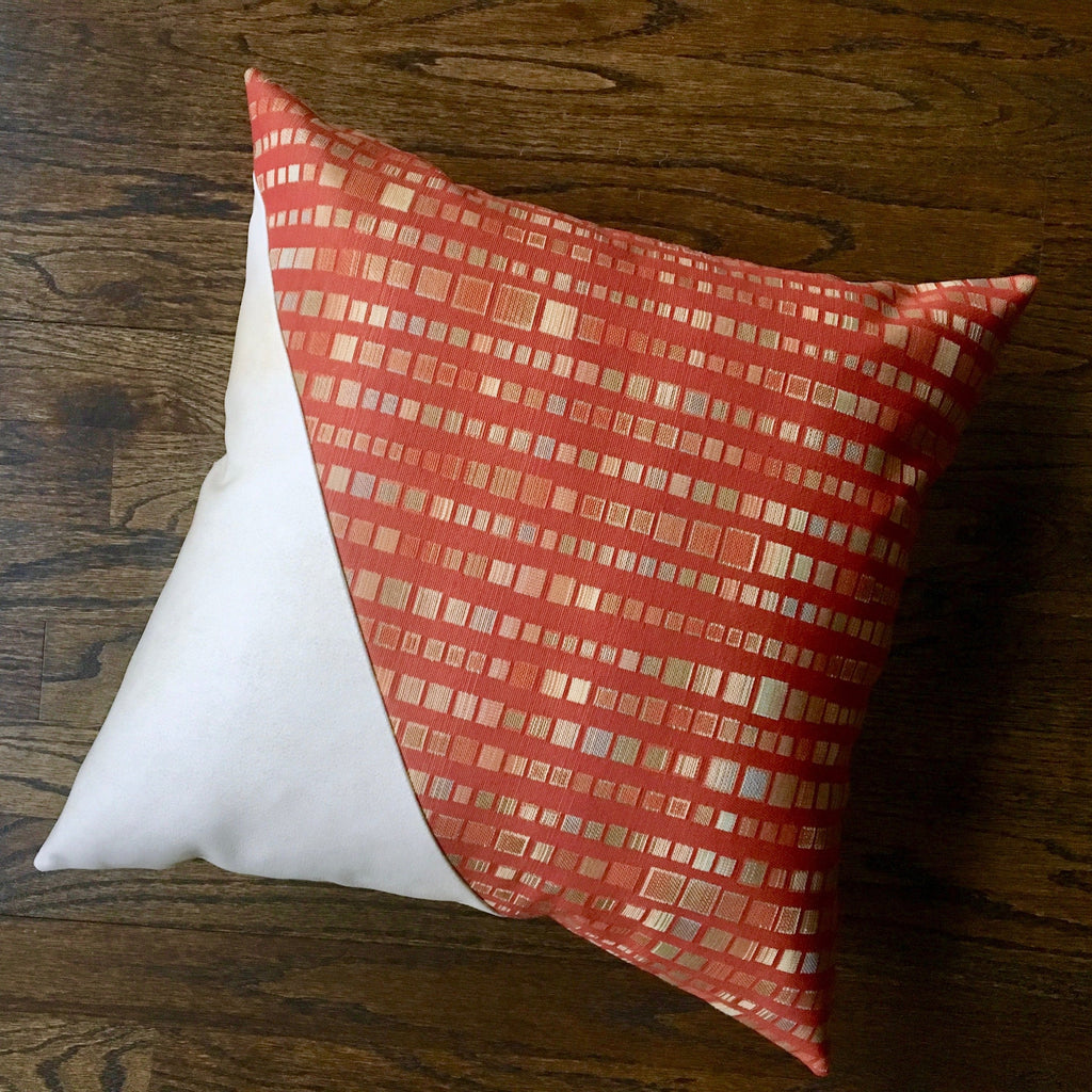Orange Green and White Outdoor Pillow | 18x18 | Water Resistant | Handmade in the USA