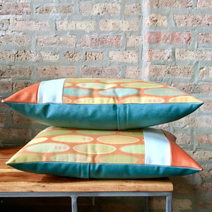 Color Block Outdoor Vinyl Lumbar Pillows | 12x20 | Orange, White, Blue | Water Repellant | Handmade