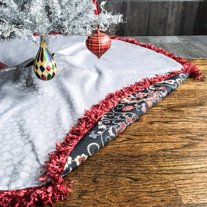 "48"" Blue, Red and Silver Contemporary Christmas Tree Skirt with Fringe 