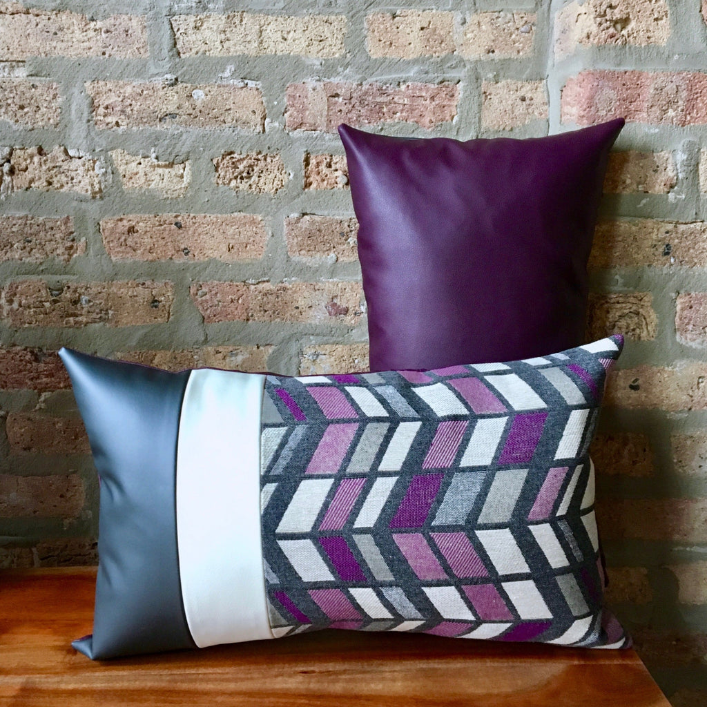 Purple Outdoor Lumbar Pillows | 12x20 | Outdoor Fabric and Vinyl/Faux Leather | Water Resistant | Handmade