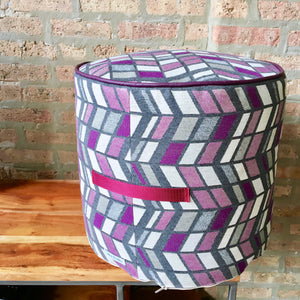 Outdoor Pouf Ottoman | Purple, Gray and Ivory Outdoor Fabric and Vinyl/Faux Leather | Water Resistant | Waterproof Vinyl Bottom Handmade