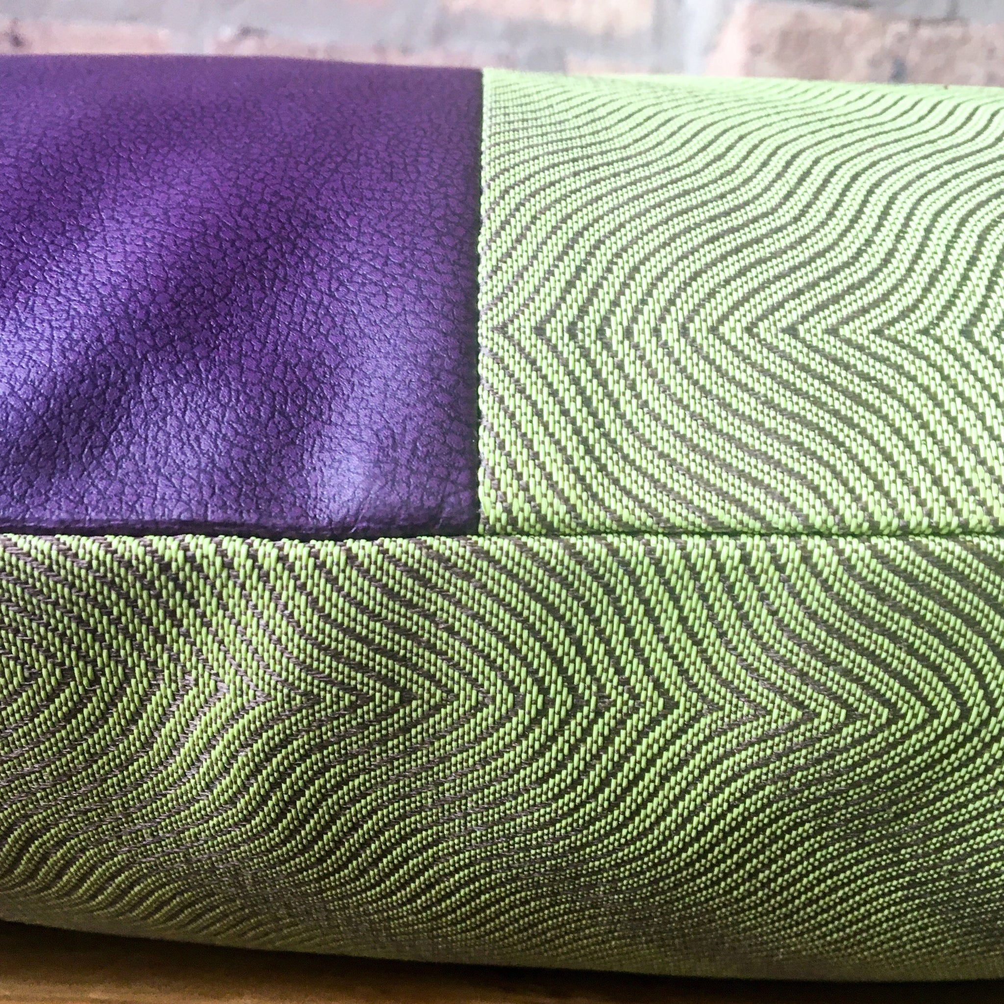 Color Block 18x18 Purple and Chartreuse Outdoor Pillow Covers | Waterproof | Water Resistant | Handmade in USA