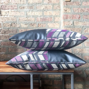18x18 Color Block Outdoor Pillow Cover | Purple, Gray, White | Outdoor Fabric and Vinyl | Water Resistant | Handmade in USA
