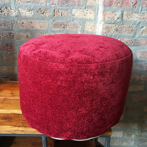 "Red Velour Pouf Ottoman | 10""x17"" 