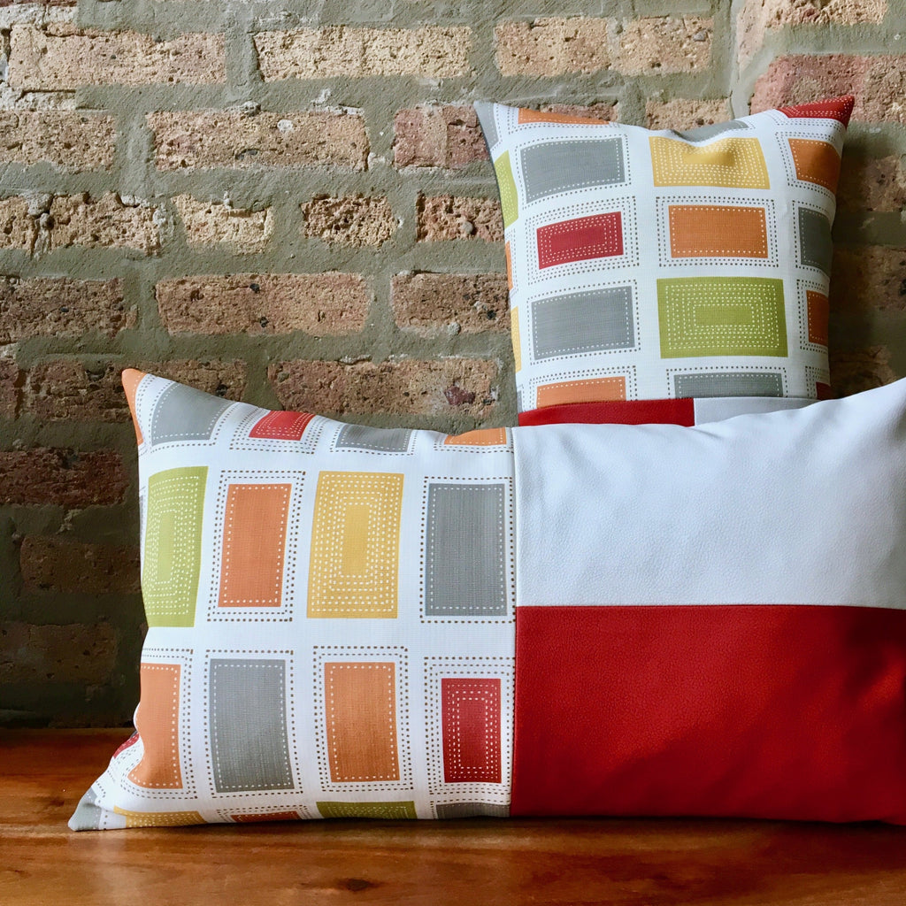 Color Block Outdoor Vinyl Lumbar Pillows | 12x20 | Red White Gray | Waterproof | Handmade