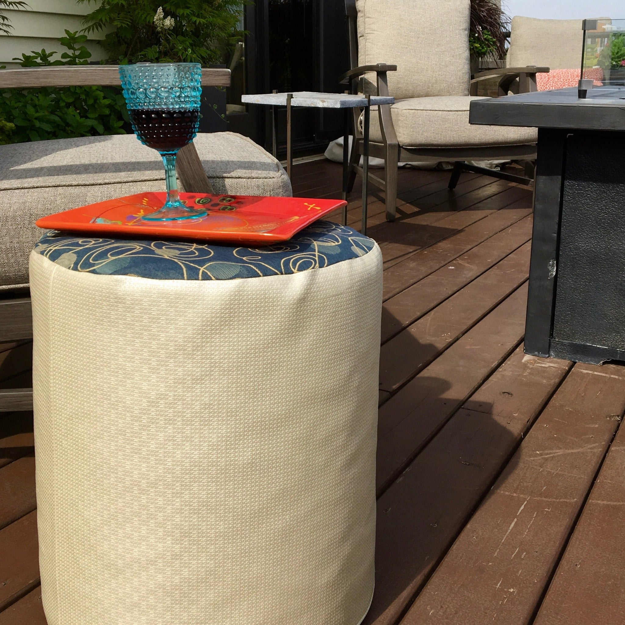 Blue and Neutral Indoor Outdoor Fabric and Vinyl Pouf Ottoman, Handmade, Water Resistant