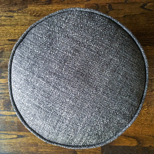 "Solid Gray Textured Pouf Ottoman | 15"" High x 17"" Wide 