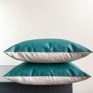 18x18 Teal and Off White Faux Leather Outdoor Pillow Covers | Turquoise Vegan Leather Pillows | Colorful Vinyl