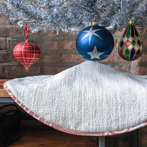 "24"" Contemporary Neutral Tabletop Christmas Tree Skirt 