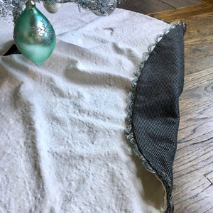 "48"" Off-White and Gray Reversible Christmas Tree Skirt 