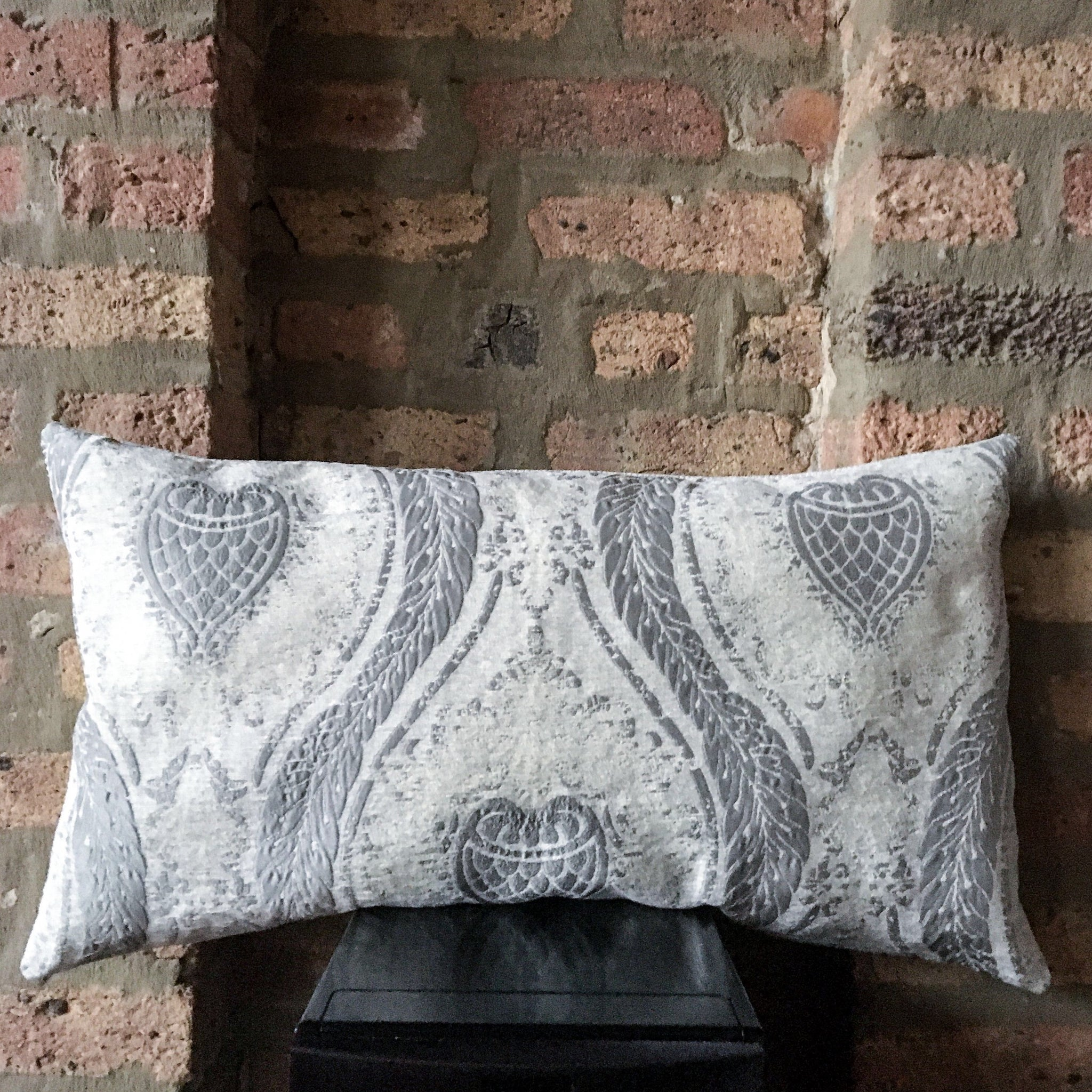 14x24 Large Elegant Silver and White Lumbar Pillow Cover | Formal Throw Pillow | Neutral Gray Decor
